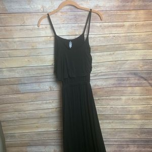 Boutique Black Maxi Dress with Ruffles & Open Back